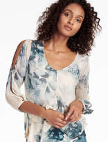 Lucky Brand Open Floral Printed Top