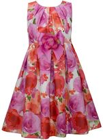 Bonnie Jean Girls 7-16 Pink & Coral Floral Shantung Dress