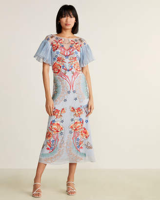 Temperley London Floral Flare Sleeve Silk Maxi Dress