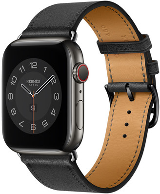 Apple Watch Hermes GPS + Cellular, 44mm Space Black Stainless Steel Case with Noir Single Tour