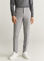 MANGO MAN - Super slim fit checked Tailored pants grey - 28 - Men