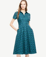 Ann Taylor Tall Floral Eyelet Flare Shirt Dress
