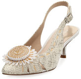 Donald J Pliner Dieme Flower Python-Print Pump, Light Gray