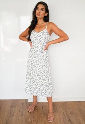 Missguided Floral Print Tie Back Cami Midi Dress