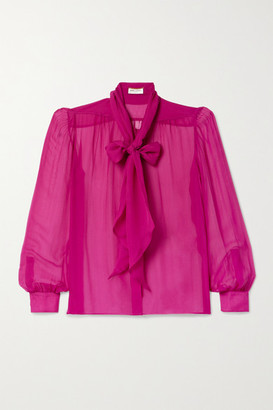 Saint Laurent Pussy-bow Silk-chiffon Blouse - Fuchsia