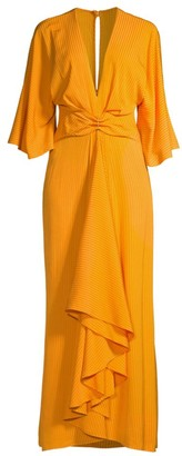 Significant Other Seawall Plunge-Neck Ruffle Dress