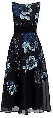 Lela Rose Women's Degrade Floral Boatneck Dress