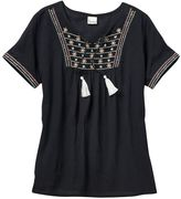 Mudd Girls 7-16 & Plus Size Embroidered Gauze Peasant Top