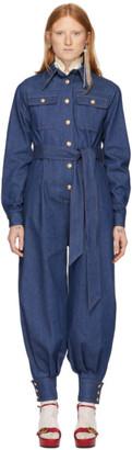 Gucci Blue Denim Belted Jumpsuit