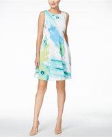 Calvin Klein Floral-Print Scuba Fit & Flare Dress