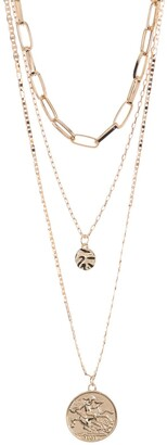 Area Stars Link Coin Layered Necklace Set