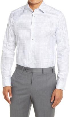 David Donahue Extra Trim Fit Diamond Print Dress Shirt
