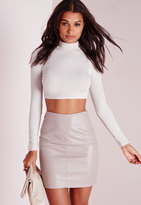 Missguided Faux Leather Mini Skirt Grey