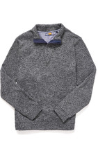 Tailor Vintage Marled Sweater Fleece 1/4 Zip Pullover Grey L