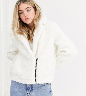 Noisy May teddy trucker jacket in off white with contrast zip