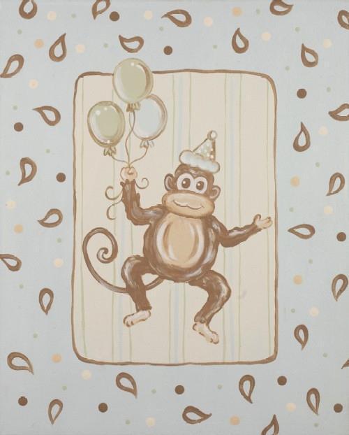 Kaloo Blue Paisley Monkey II on Canvas