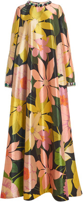 Richard Quinn Crystal-Embellished Floral Crepe Maxi Dress