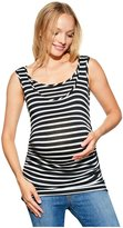 Belly 360 Belly Ruched Maternity/nursing Tank Top - Black/White - S