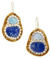 Lapis Blue Crystal & Opal Drop Earrings