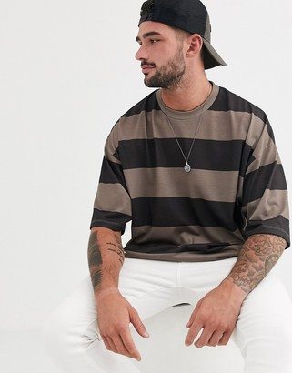 Asos Design DESIGN oversized wide stripe t-shirt in brown and beige-Multi