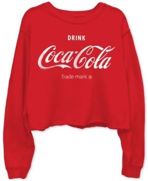 Junk Food Clothing Cotton Coca-Cola-Graphic Cropped Raw-Edge Sweatshirt