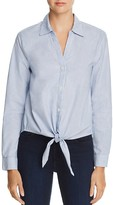 Soft Joie Crysta Tie-Front Pinstriped Shirt