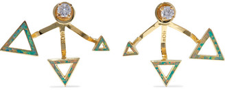 Noir Odessa 14-karat Gold-plated, Stone And Crystal Earrings