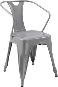 Williston Forge Alisa Metal Slat Back Arm Chair (Set of 4 Finish: Gun Metal