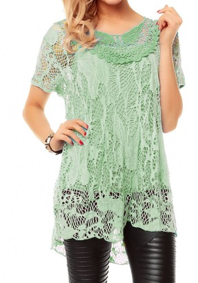 Ahr Ladies Italian Lagenlook Knitted Crochet Lace Mesh Quirky Loose High Low Layering Vest Tops Twin Set Womens T-Shirt Blouse UK Plus Size 8-22 (XL/XXL (UK 20-22)