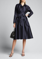 Rickie Freeman For Teri Jon Envelope-Collar Cinch-Waist Full Skirt Taffeta Shirt Dress