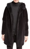Loro Piana Rowlands Fox-Collar Long Coat, Caviar Black