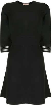 Twin-Set Perforated Half-Sleeve Knitted Dress