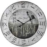 """Lazy Susan New York 24"""" Printed Wall Clock Gray ;"""