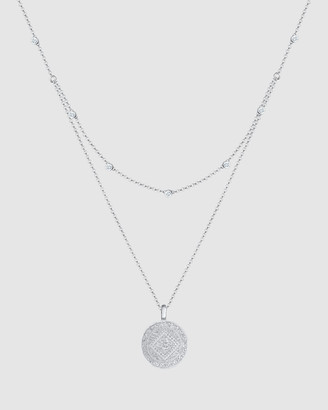 Elli Jewelry Necklace Layer Look Coin Platelet Swarovski& Crystals 925 Sterling Silver