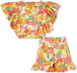River Island Girls Floral Ruffle Cropped Top and Short Set -Orange