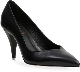Black Suede Studio Sierra Leather Cone-Heel Pumps