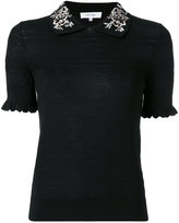 Carven embroidered collar polo top