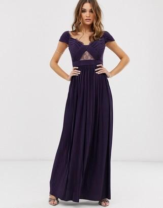 Bardot Asos Design ASOS DESIGN Premium lace and pleat maxi dress
