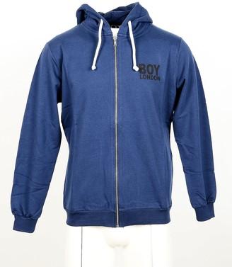 Boy London Blue Cotton Zip Front Men's Hoodie