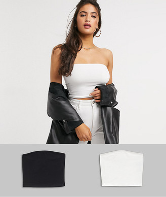 ASOS DESIGN ultimate organic cotton crop bandeau top 2 pack SAVE