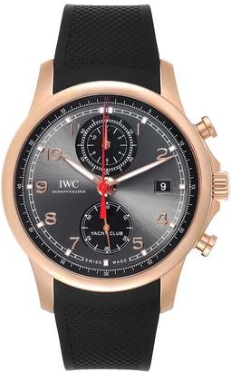 IWC Grey 18K Rose Gold Portuguese Yacht Club Chronograph IW390209 Men's Wristwatch 45 MM