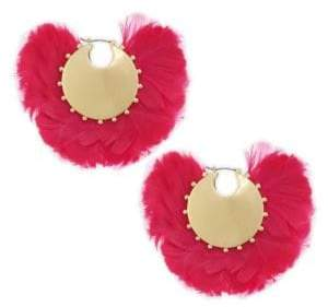 Kate Spade Feather& 14K Goldplated Hoop Earrings - Black Multi