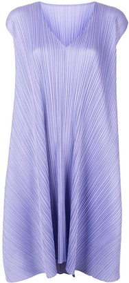 Pleats Please Issey Miyake Pleated Oversized Flared Dress