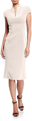 Zac Posen Bonded Crepe Slit-Neck Dress