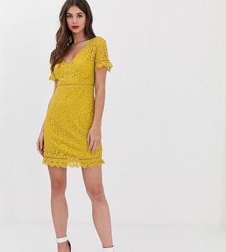 Fashion Union Tall short sleeved lace dress-Yellow