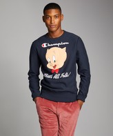 Looney Tunes Todd Snyder + Champion Champion + That's All Folks Reverse Weave Crew in Navy