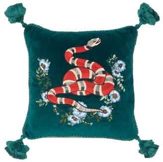 Gucci Kingsnake-embroidered Velvet Cushion - Green Multi