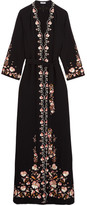 Vilshenko Beatrice Embroidered Crepe Maxi Dress - Black