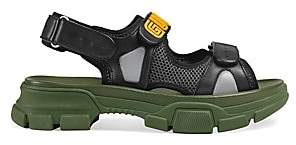Gucci Men's Leather& Rubber Logo Strap Sandals