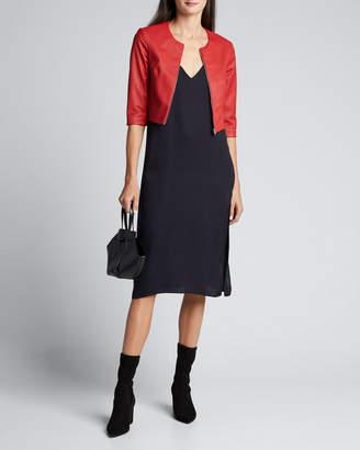 Susan Bender Stretch Leather Zip-Front Cardigan
